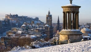 View of Edinburgh in winter from Calton Hill