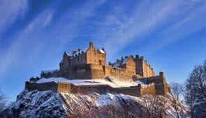 Edinburgh Castle covered in snow