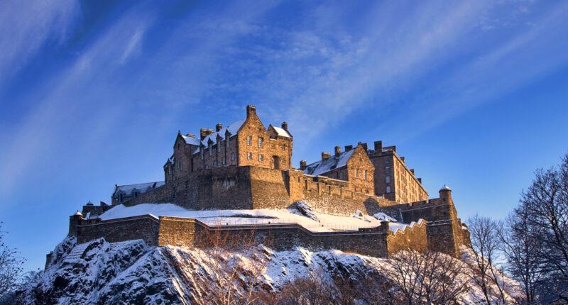 Edinburgh Castle covered in snow
