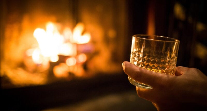 Single malt whisky by the cosy fire