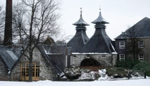 Strathisla Distillery in the snow