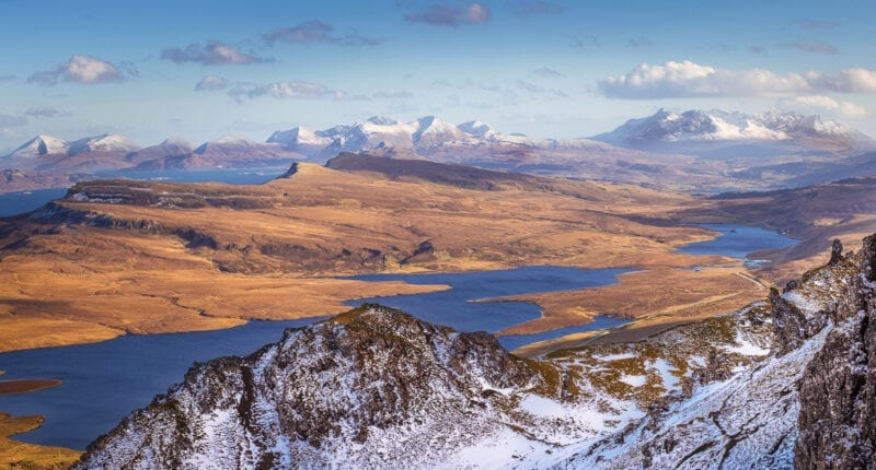 View from the Old Man of Storr on a beautiful spring afternoon - Isle of Skye