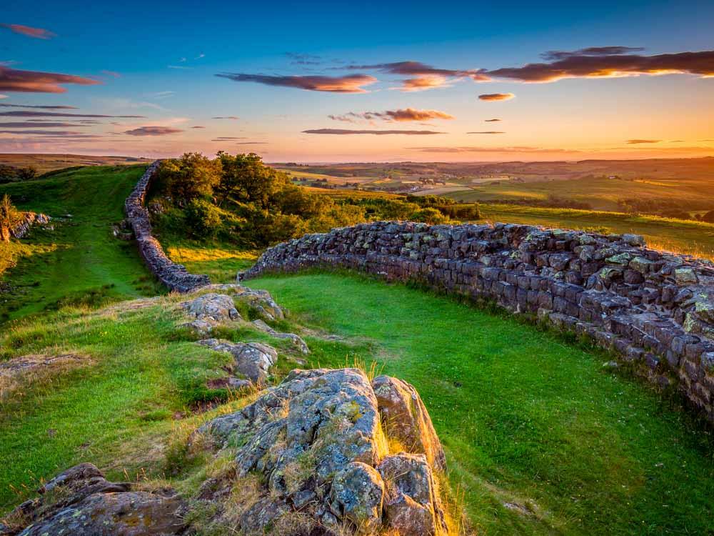 Hadrian's Wall near sunset at Walltown
