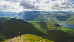 A hiker above Lake Buttermere, Lake District