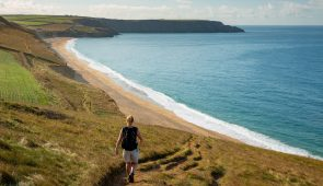 Coastal path above Porthleven Sands in Cornwall