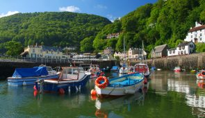 Fishing boats moored in the harbour of Lynmouth, Devon