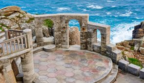 High angle view of the stage at the Minack Theatre, Porthcurno, Cornwall