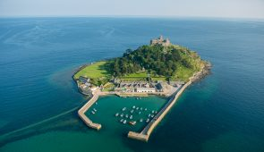 St Michael's Mount, a historic fortified building on a rocky outcrop in Marazion bay, off the coast of Cornwall