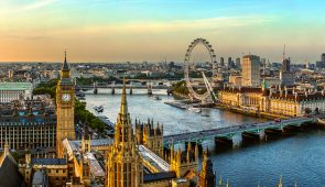 View of the Houses of Parliament, the River Thames, Westminster and Westminster Bridge in London