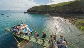 Group boarding Dale Princess boat at Martin's Haven, Skomer